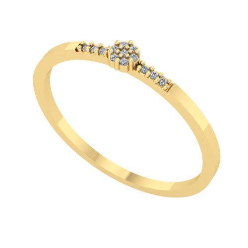Anel em Ouro 18k/750 Miolinho Flor com Diamante
