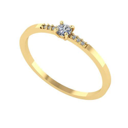 Anel em Ouro 18k/750 Solitário com Diamantes no Aro 3mm