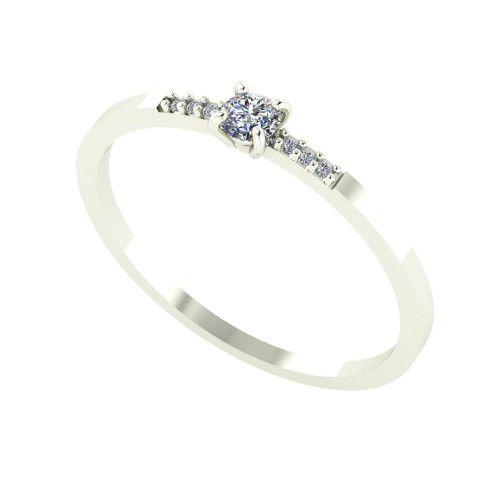 Anel em Ouro Branco 18k/750 Solitário com Diamante