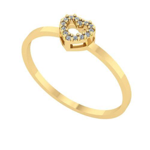 Anel em Ouro 18k/750 Chuveiro Coração com Diamante