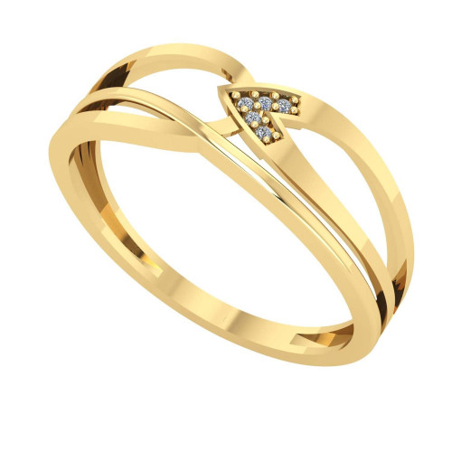 Anel em Ouro 18k/750 Aro Trançado com Diamante