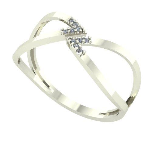 Anel em Ouro Branco 18k/750 Tipo Navete com Diamante