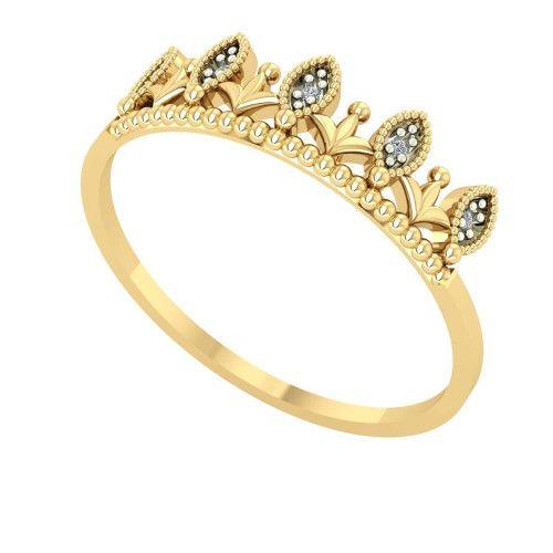Anel em Ouro 18k/750 Coroinha com Diamante