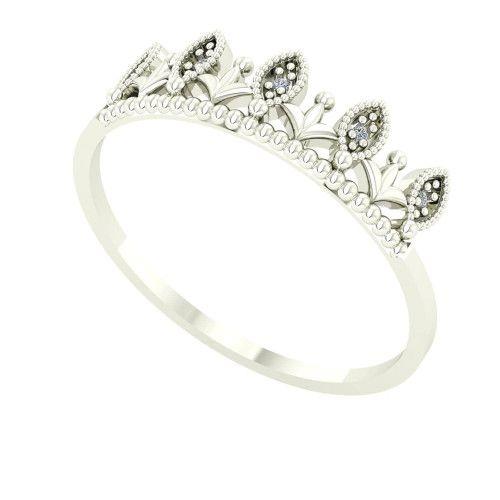 Anel em Ouro Branco 18k/750 Coroinha com Diamante