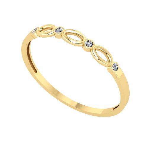 Anel em Ouro 18k/750 Fininho com Diamante