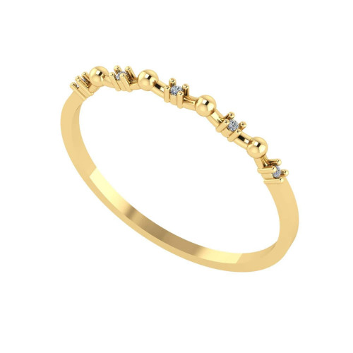 Anel em Ouro 18k/750 Bolinha e Diamante