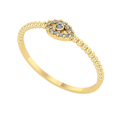 Anel em Ouro 18k/750 Olho Grego com Diamante