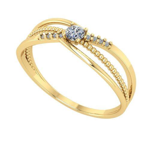 Anel em Ouro 18k/750 Detalhado Bolinha com Diamantes