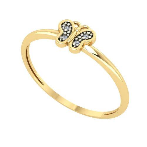 Anel em Ouro 18k/750 Borboleta com Diamante