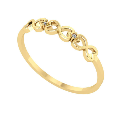 Anel em Ouro 18k/750 Infinito com Diamante