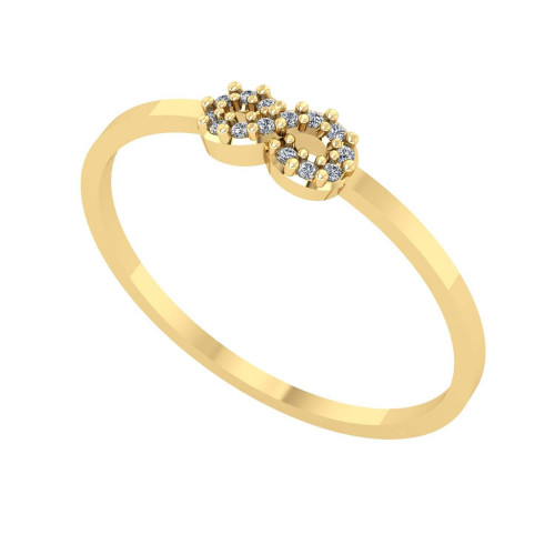 Anel em Ouro 18k/750 Infinito com 14 Diamantes