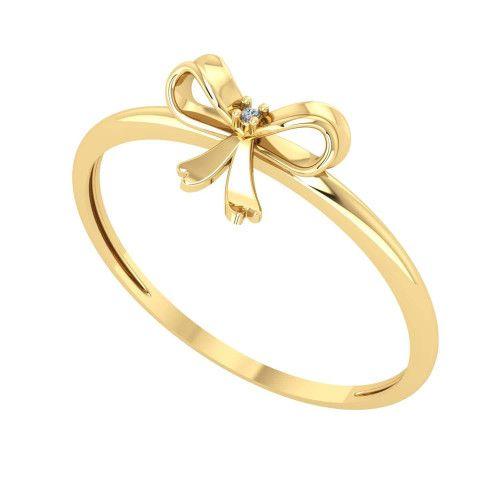 Anel em Ouro 18k/750 Laço com Um Diamante no Centro
