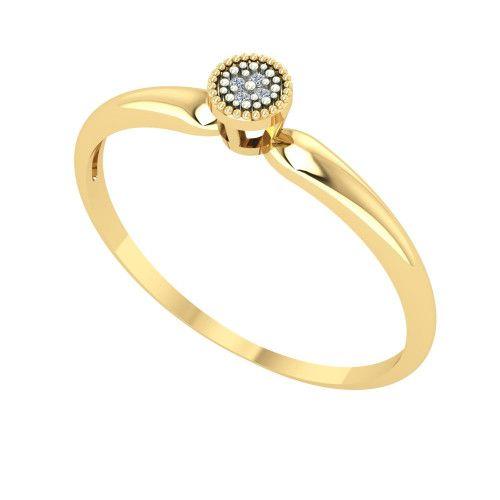 Anel em Ouro 18k/750 Chuveiro Redondo com Diamante