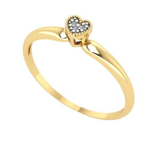 Anel em Ouro 18k/750 Chuveirinho de Coração com Diamantes