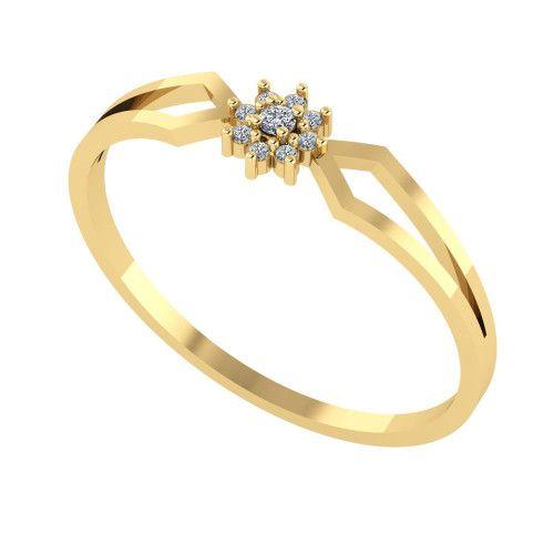 Anel em Ouro 18k/750 Pavê Miolo Flor com Diamante
