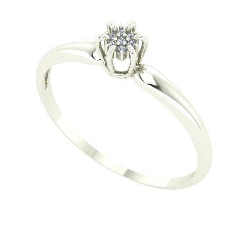 Anel em Ouro Branco 18k/750 Chuveiro Coroa com Diamante