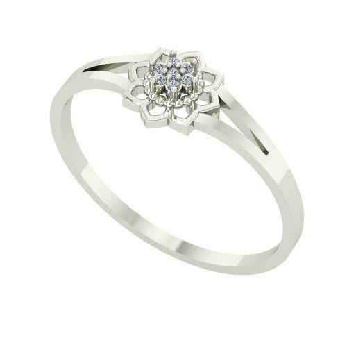 Anel em Ouro 18k/750 Flor Pavê com Diamantes