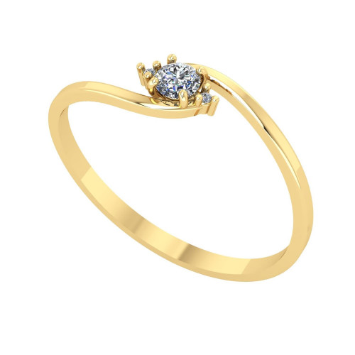 Anel em Ouro 18k/750 Solitário com Diamante 3mm Tio Navete