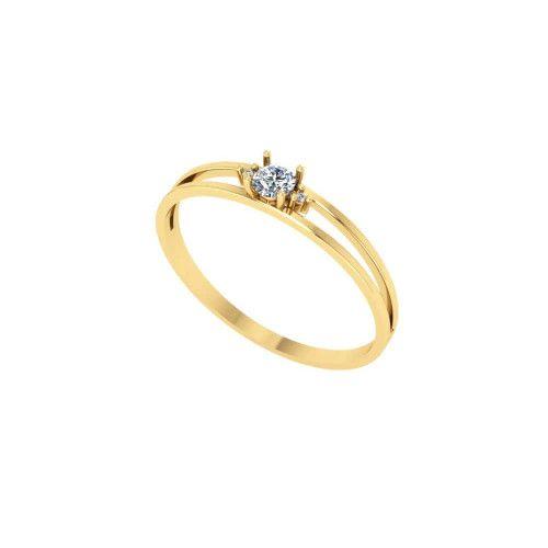 Anel em Ouro 18k/750 Solitário com Diamante  aro Duplo