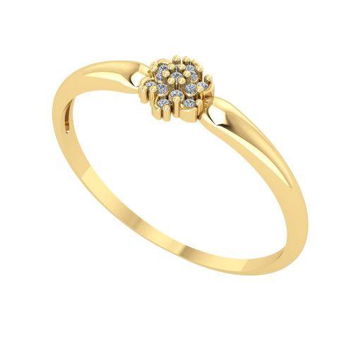Anel em Ouro 18k/750 Flor Pavê com 13 Diamantes