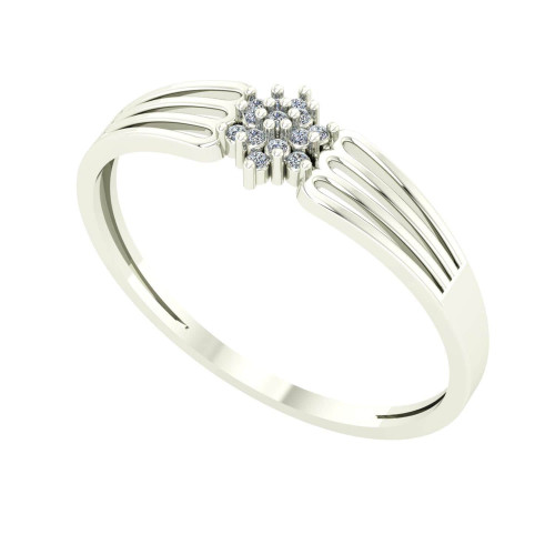 Anel em Ouro Branco 18k/750 Pave Flor com Diamante