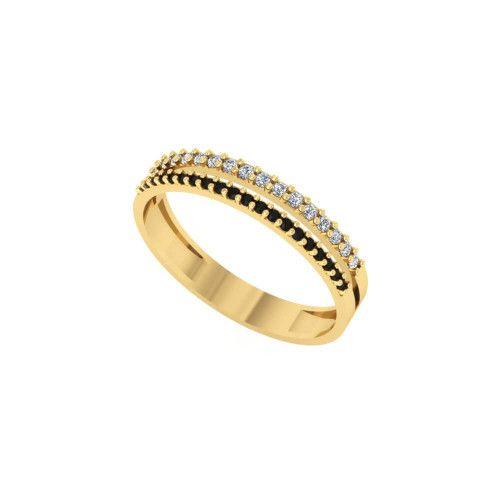 Anel em Ouro 18k/750 Aro Duplo Bicolor 36 Pedras de Zircônia