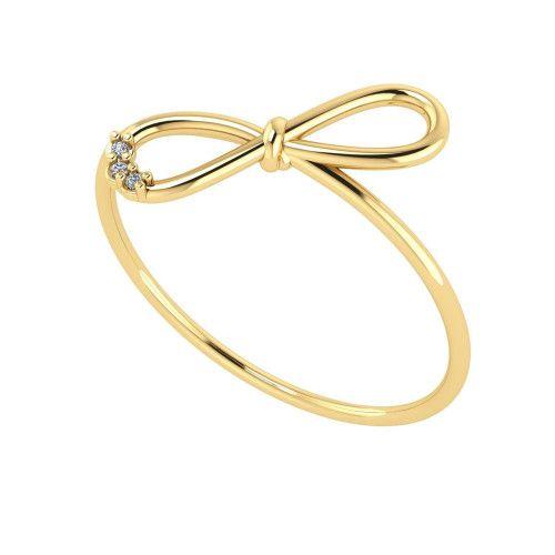 Anel em Ouro 18k/750 Laço com Diamante
