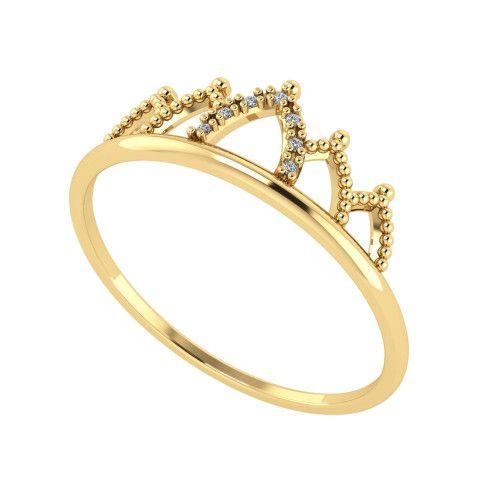 Anel em Ouro 18k/750 Coroa com 7 Diamantes
