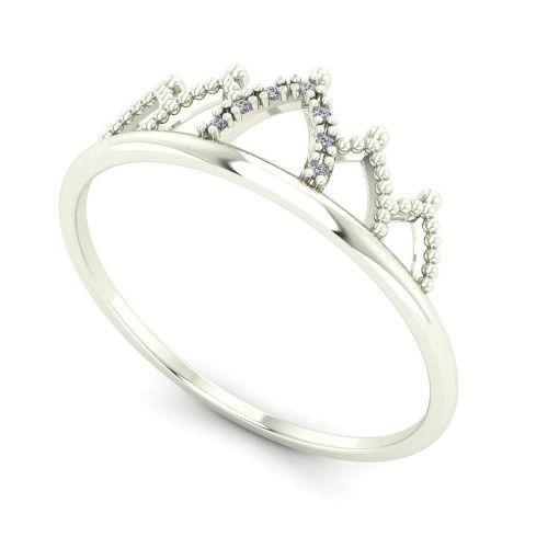 Anel em Ouro 18k/750 Coroa com Diamante