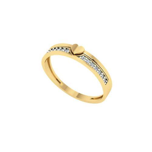 Anel em Ouro 18k/750 Fileira com Coração e Quatorze Pedras de Zircônia