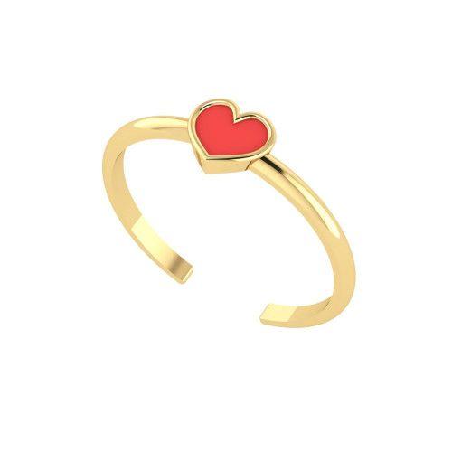 Anel em Ouro 18k/750 Falange Coração com Resina