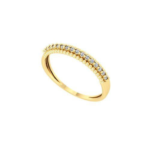 Anel em Ouro 18k/750 Meia Aliança Bolinha com Pedras de Zircônia