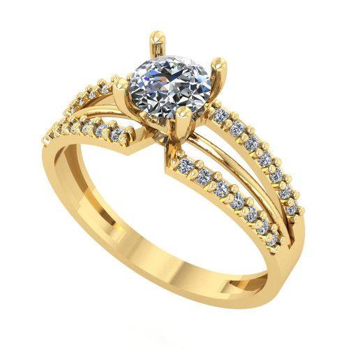 Anel em Ouro 18k/750 Solitário com Pedras de Zircônia