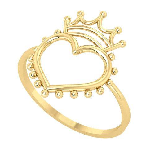 Anel em Ouro 18k/750 Coração com Coroa e Pedras