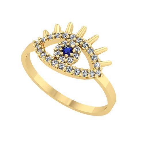 Anel em Ouro 18k/750 Olho Grego com Pedras
