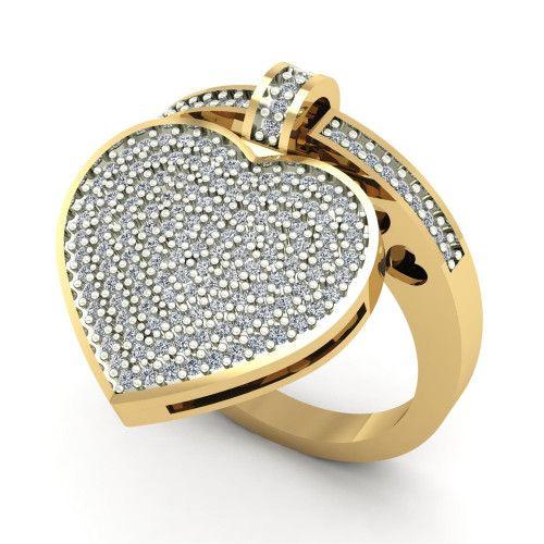 Anel em Ouro 18k/750 Com Pingente de Coração com Diamantes