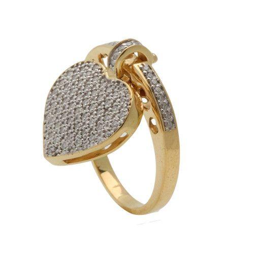 Anel em Ouro 18k/750 Pingente de Coração e Diamantes