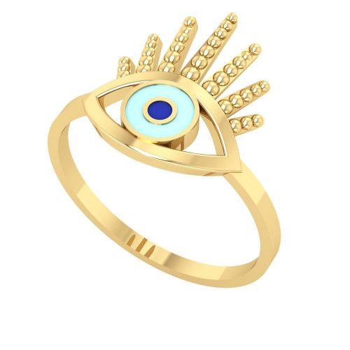 Anel em Ouro 18k/750 Olho Grego com Resina