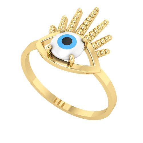 Anel em Ouro 18k/750 Olho Grego com Pedra