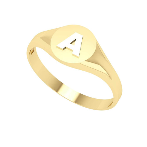 Anel em Ouro 18k/750 Chancela Redonda e Letra Branca Pequeno
