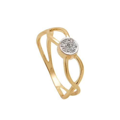Anel em Ouro 18k/750 Trançado Circulo com Diamante