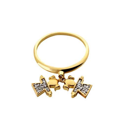 Anel em Ouro 18k/750 Duas Meninas com Diamante