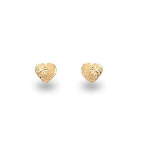 Brinco em Ouro 18k/750 Coração Pequeno Fosco e Diamantado 6mm