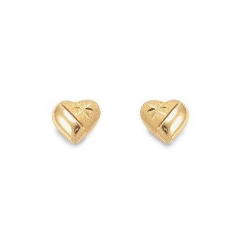 Brinco em Ouro 18k/750 Coração Médio Fosco e Diamantado 8mm