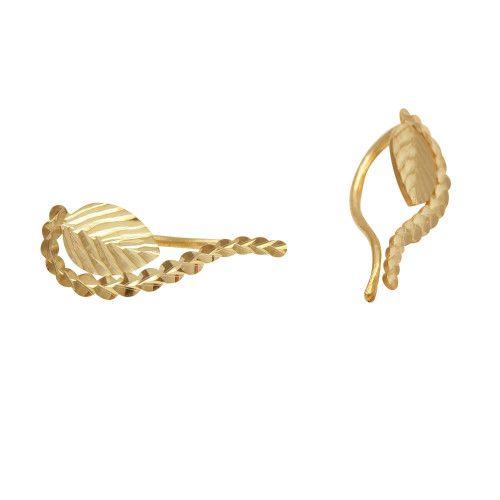 Brinco em Ouro 18k/750 Ear Cuff Folha