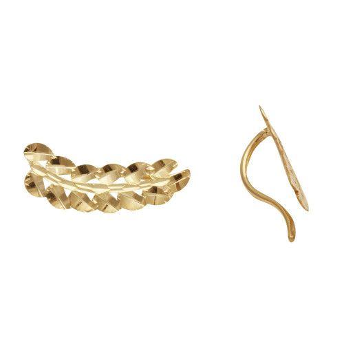 Brinco em Ouro 18k/750 Ear Cuff Ramo Diamantado