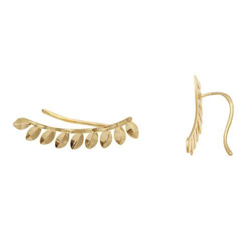 Brinco em Ouro 18k/750 Ear Cuff Navetes Diamantado