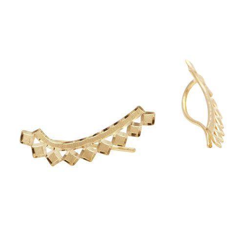 Brinco em Ouro 18k/750 Ear Cuff Quadrado Diamantado