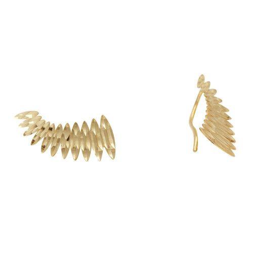 Brinco em Ouro 18k/750 Ear Cuff Navetes Crescentes Diamantado