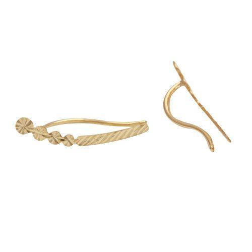 Brinco em Ouro 18k/750 Ear Cuff Fio Diamantado